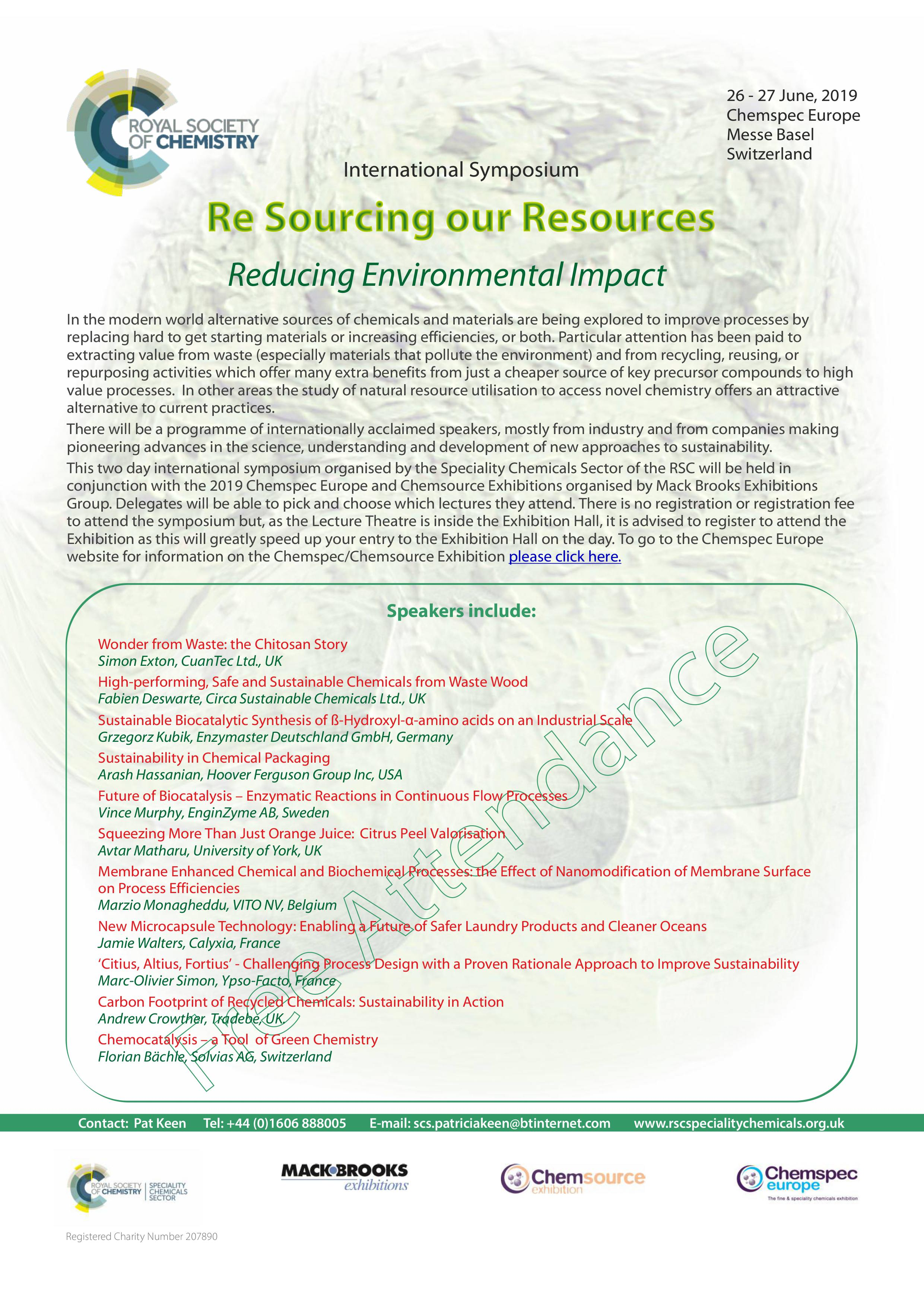 Royal Society of Chemistry Symposium 2019: Re sourcing Our